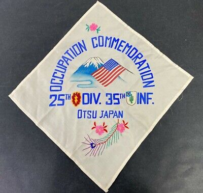 US Army 25th & 35th Infantry Division Occupied Japan Silk Handkerchief
