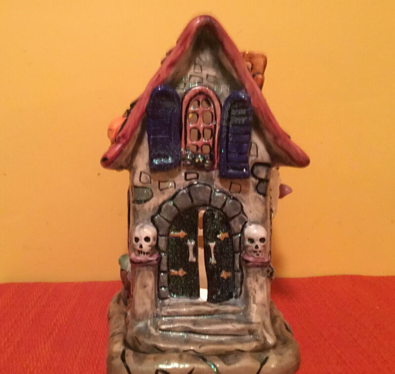 """Ceramic Halloween 10"""" Haunted House Glittered Candle Holder Detailed"""