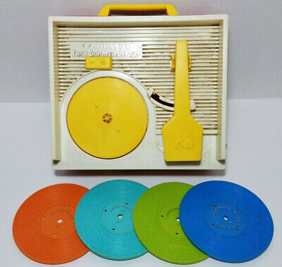 1971 Fisher Price Music Box Record (4) Player Children Wind Up Toy Vintage WORKS