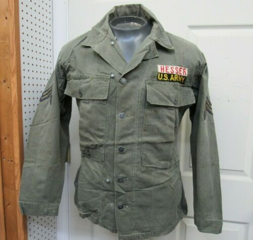 WW2 Korean US HBT Fatigue Jacket 13 Star Button Shirt 3rd Pattern w Gas Flap 36R