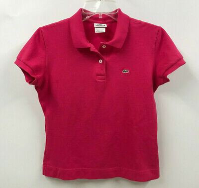 LACOSTE Womens size 42 (M) Bright Pink Short Sleeve Fitted Polo Shirt Top