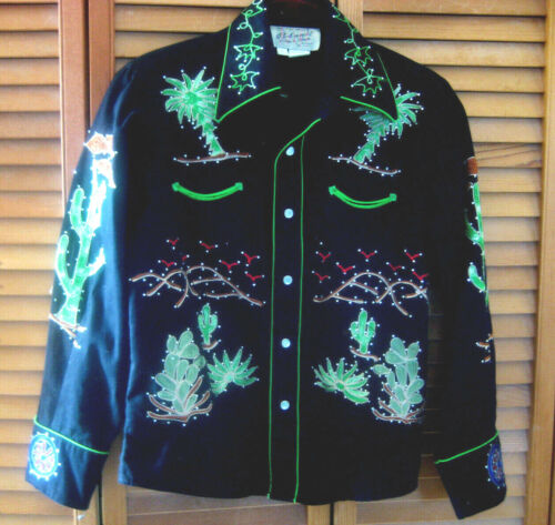 Rockmount WESTERN SHIRT Youth sz L Western Show Rodeo covered wagon bling