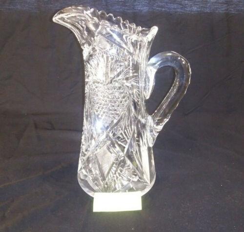 ANTIQUE AMERICAN BRILLIANT DORFLINGER CUT GLASS STRAWBERRY JUG WINE PITCHER