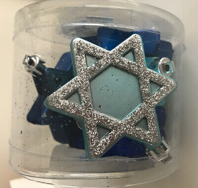 Star of David Hanukkah Ornament Set of 7 pcs SHATTERPROOF Blue -