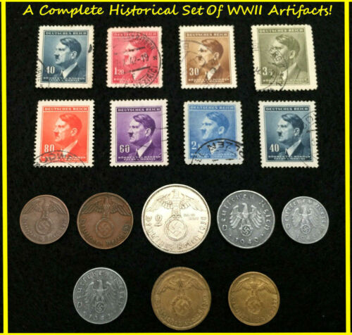 Rare WW2 German Coins & Stamps Set Of Historical Artifacts - Complete Collection