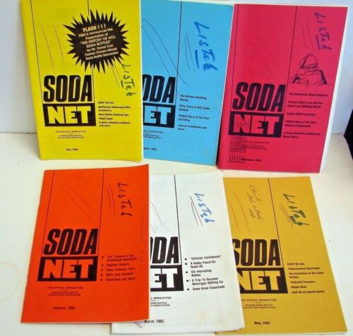 Painted Label Soda Net; 1992 (6) issues; ACL soda collectors Official Newsletter