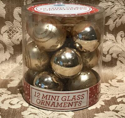 Martha Stewart GOLD 12 MINI GLASS CHRISTMAS ORNAMENT SET NWT