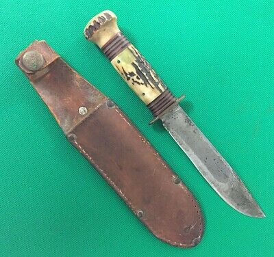Vintage Marbles Gladstone Stag Handle & Butt Knife 5 3/4 in blade