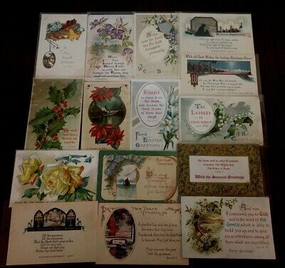 Lot of 15 Vintage~ Greeting Postcards with Psalms~BIBLE VERSE Religious-k220