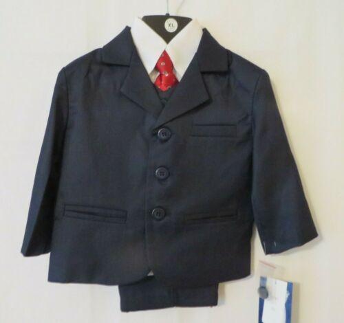 Lito 5Pc Navy Suit Jacket, Vest, Pants Wht LS Shirt & Tie 12 18 24M or 3T #11191