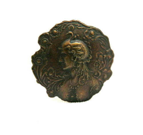 Antique Scalloped Metal Hat Pin ~ Victorian Female w/ Peacock Bird Headdress