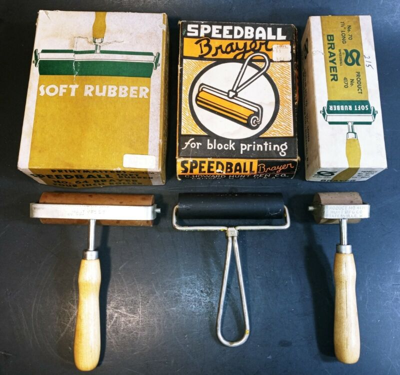 Vintage Speedball Breyers Lot Soft Rubber Rollers W/ Orig. Boxes