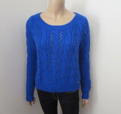 Hollister Womens Knit Crewneck Cropped Sweater Size Medium Royal Blue -
