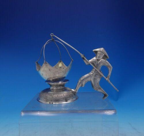 .900 Silver Tea Strainer Figural Man and Fishing Pole w/Net Hanoi Vietnam #3954