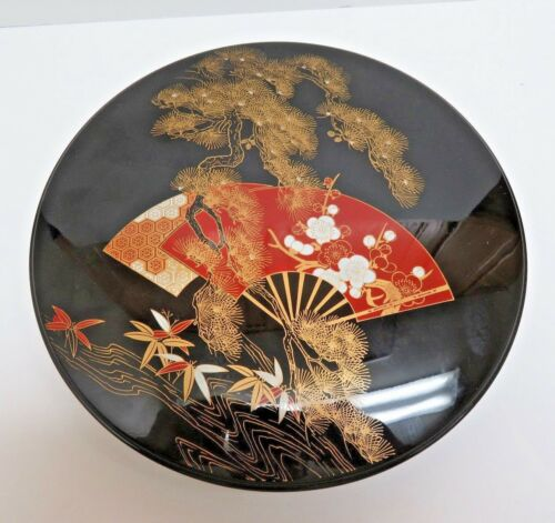 """Japan Round Lacquerware Box w/ Re-Moveable Lady Susan Tray 9"""""""