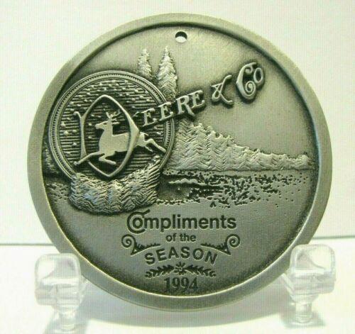 *John Deere & Co 1881 4 Legged Deer Logo Pewter Christmas Ornament 1994 SpecCast