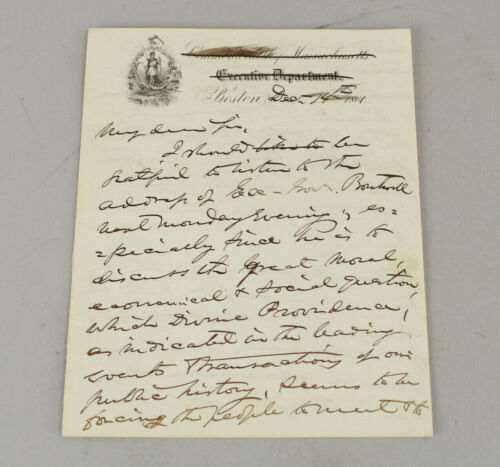 1861 John Albion Andrew Mass. Governor Signed Letter to James M. Stone Civil War