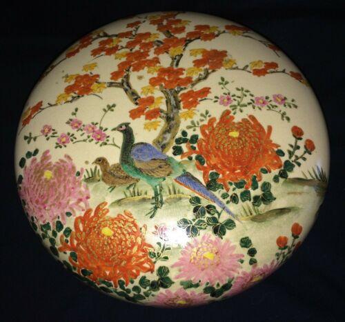 "8"" ANTIQUE MEIJI SATSUMA ROUND LIDDED BOX FLOWER BIRD DECORATED JAPAN JAPANESE"