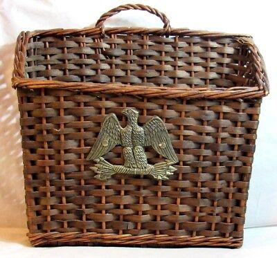 Wicker File Basket (VINTAGE BASKET WOVEN WICKER PATRIOTIC AMERICAN EAGLE HANGING HANDLE FILE MAIL)