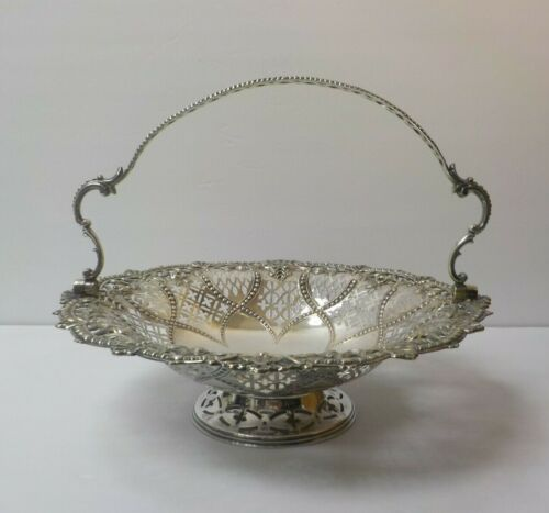 19th C. Continental Reticulated Silver Swing Handle Basket
