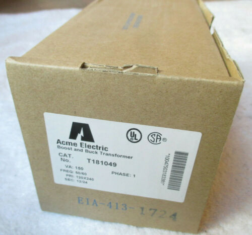 New Acme Electric Boost & Buck Transformer T181049. 1 Phase. 120x240V-12/24V