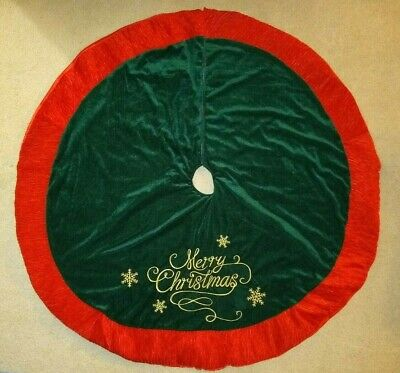 "48"" Merry Christmas Green Red Velvet Tree Skirt"