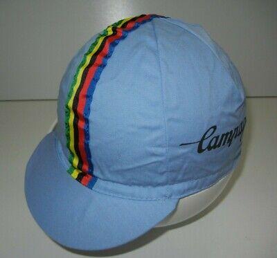 Vtg 80s CAMPAGNOLO ITALY Blue Colorful CYCLING HAT Flip-Bill Biker Bike Gear Cap