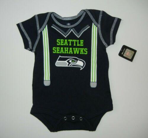 SEATTLE SEAHAWKS Team Blue NFL FOOTBALL BABY SUIT Shirt Sz 0/3 MONTHS Newborn