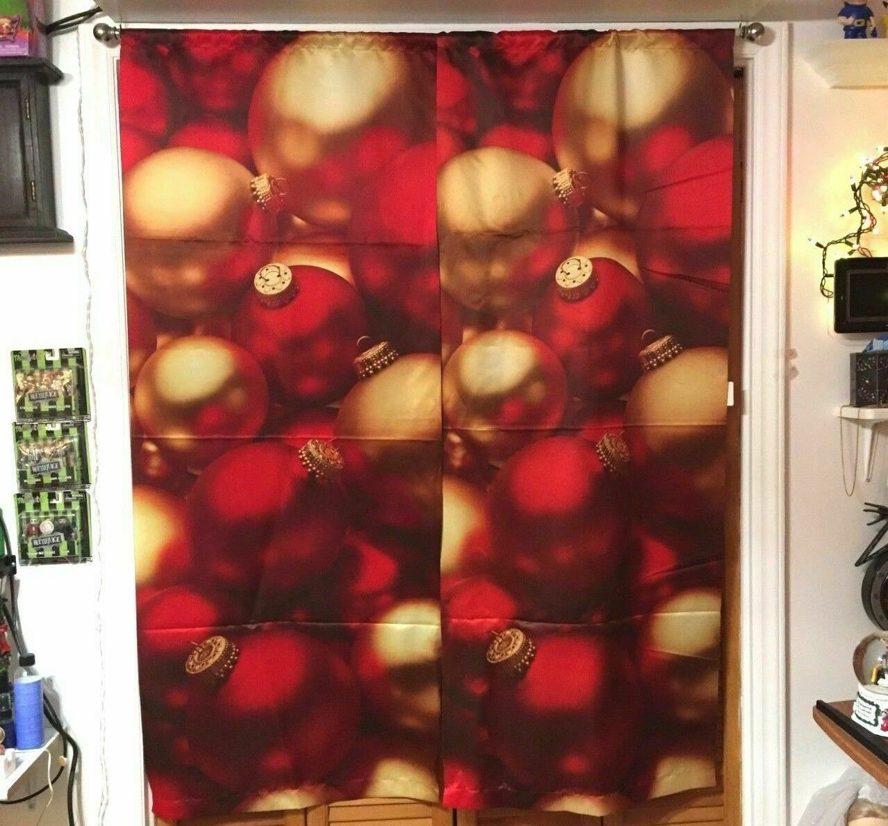 Christmas Ornament Curtain Set Decor Decorations For Window