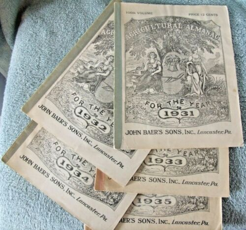 Lot Of Agricultural ALMANAC 1931, 1932, 1933, 1934, 1935 John Baer