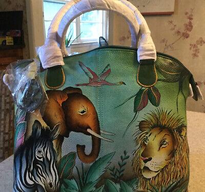 Beautiful Anuschka  hand painted leather handbag, With crossbody shoulder Strap
