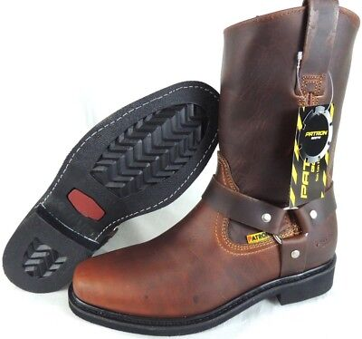 Mens Biker Work Boots Genuine Leather Square Toe Rodeo Brown Cowboy