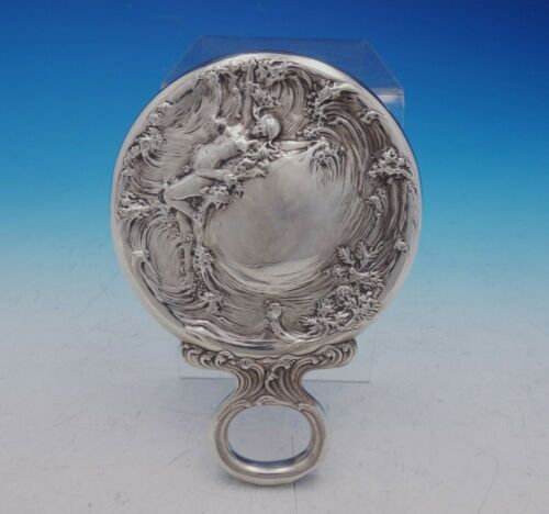 La Vision by Mauser Sterling Silver Hand Mirror Art Nouveau Figural (#4569)