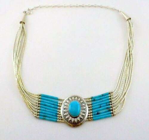 QT Southwestern Liquid Sterling Silver and Turquoise Necklace 9 Strands 12-16 In