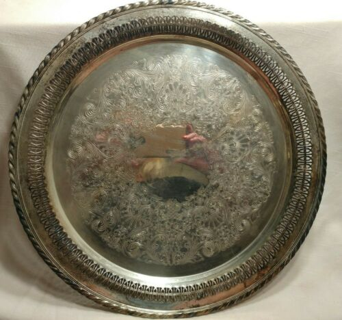 "Vintage Wm Rogers Silver Plated 15"" Round Ornate Serving Tray Platter 4172"