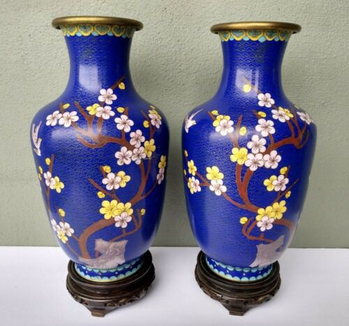 """PAIR OF CHINESE CLOISONNE ENAMEL BLUE FIELD 12"""" VASES w/ STANDS"""