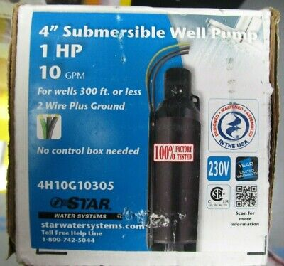 Star Water Systems 1hp 10gpm 4 Submersible Well Pump 4h10g10305 Brand New
