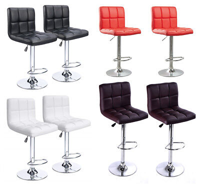 Leather Square Bar Stool - Set of 2 Adjustable Swivel Leather Bar Stool Counter Height Square Kitchen Chair