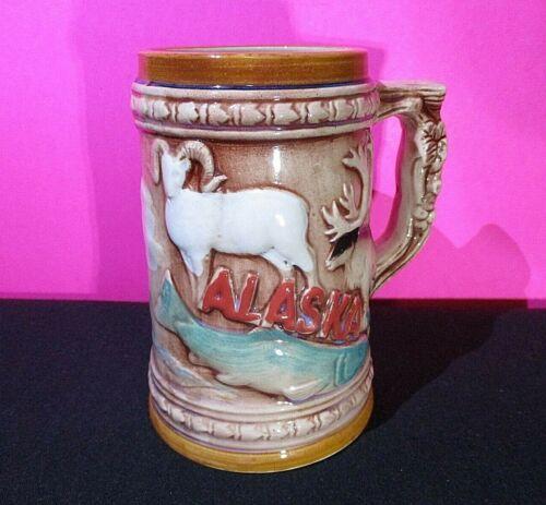 "Vintage Alaska Stein Mug Alaska Wildlife Theme Moose Bear 5 1/4"" Tall, Japan"