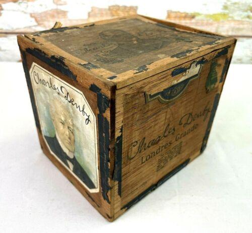Antique Fendrich Charles Denby Londres Grande Wooden Cigar Box Victorian Era USA