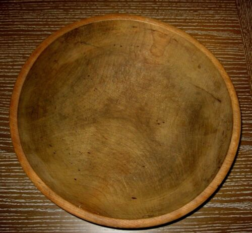 "Vintage Primitive Wooden Bread Bowl w/ indented ring 15.5"" No cracks Nice Piece"