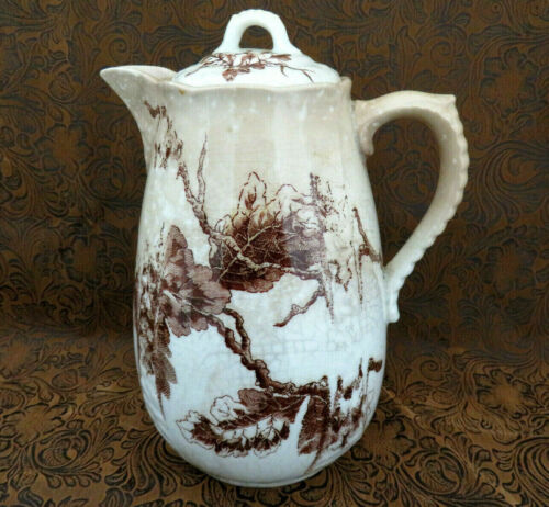 Antique Ott & Brewer Brown Transferware Ironstone Coffee Pot ~ Charming