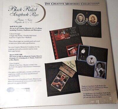 black ruled scrapbook refill pages old style