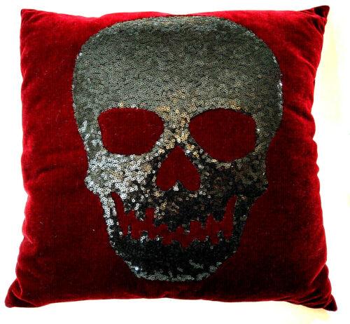 Skull Pillow Burgundy Red Velvet Sequins Horror Gothic Punk Creepy Monster Decor