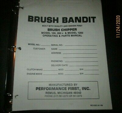 Bandit Brush Chipper Model 150 200 Model 1200 Operator Parts Service Manual