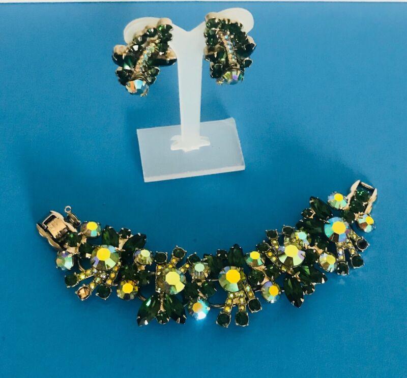 Vintage Julianna D & E link green rhinestone bracelet earrings set