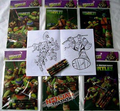 6 Teenage Mutant Ninja Turtles TMNT Coloring Book + 24 Crayon Gift Bag Filler