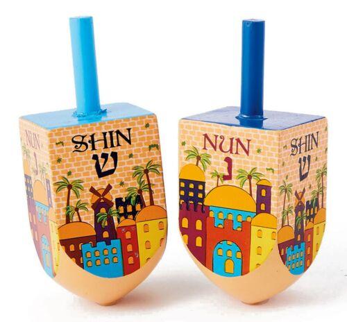 2 LARGE WOOD JERUSALEM DREIDELS - Jewish Holiday Gift- Hanukkah Chanukah Dreidel