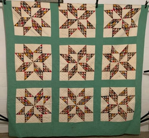 """Antique Vintage Cotton Fabrics Late 1800s Feathered Stars Quilt 68""""X92"""""""