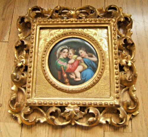 PORCELAIN PAINTING 19TH CENT MOTHER & CHILD RAPHAEL STYLE EXC QUAL